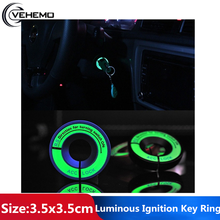 VEHEMO Car Ignition Key Ring Sticker Luminous LED Light Decorations Stickers Vehicle Light Decorations For Ford Golf Passat(China)
