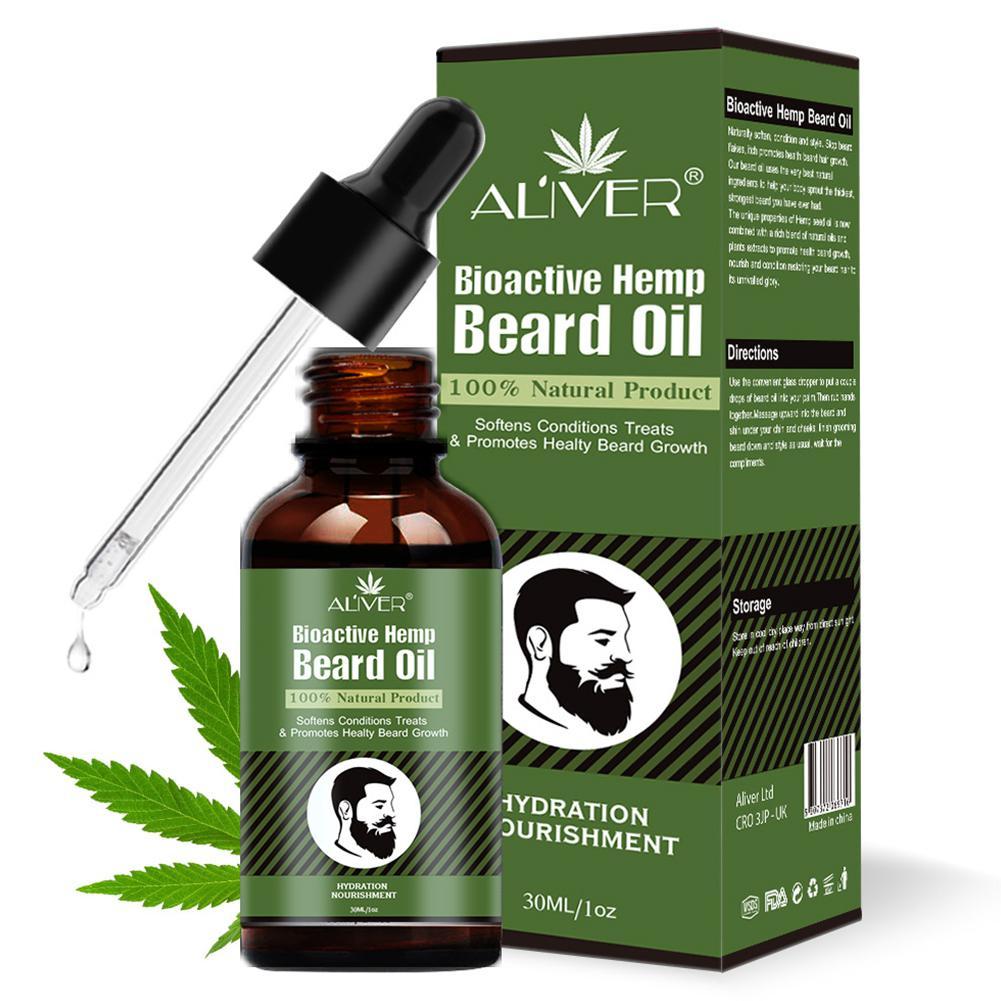 Blue ZOO 30 Ml Men Beard Hemp Growth Oil Soften Hair Growth Nourishing Enhancer Beard Conditioner  Gift For Men Beard Care