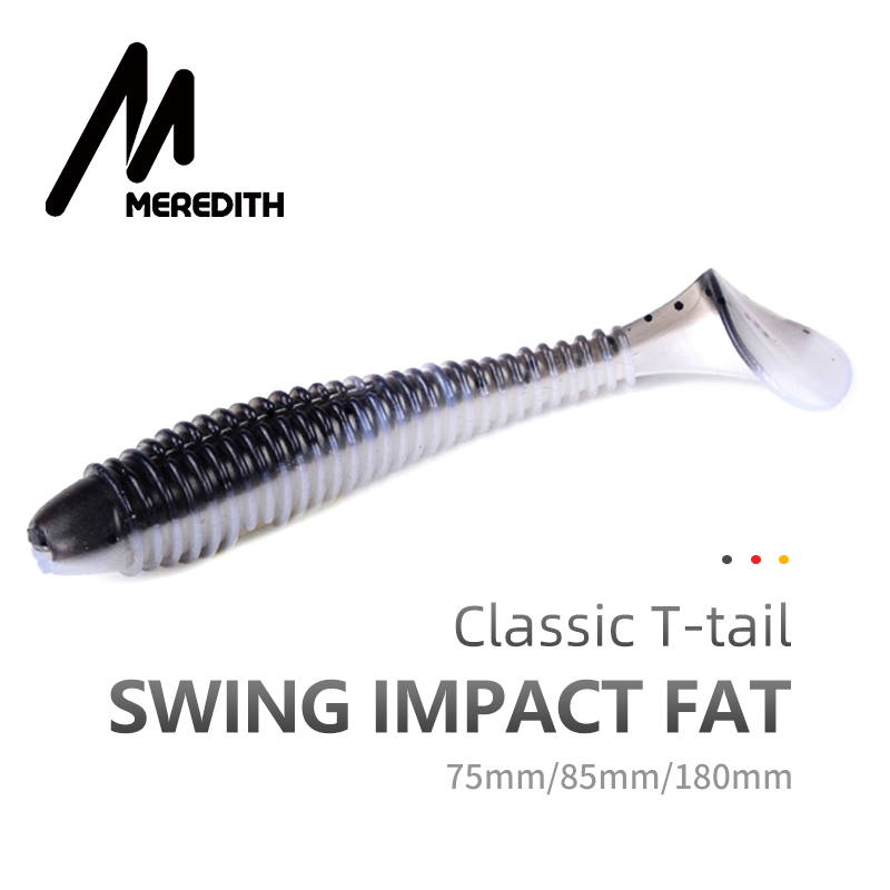 MEREDITH Swing Impact FAT Fishing Lures 75mm 85mm 180mm Paddle Tail Lures Wobbler Fishing Soft Lure For Bass Silicone Bait