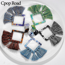 Cpop New Vintage Handmade Tassel Macrame Earrings Boho Feather Fringe Acrylic Bridesmaid Gifts Jewelry Accessories Gift