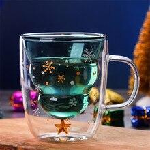 Креативная двухслойная стеклянная Рождественская елка звезда чашка для воды высокая температура кружка