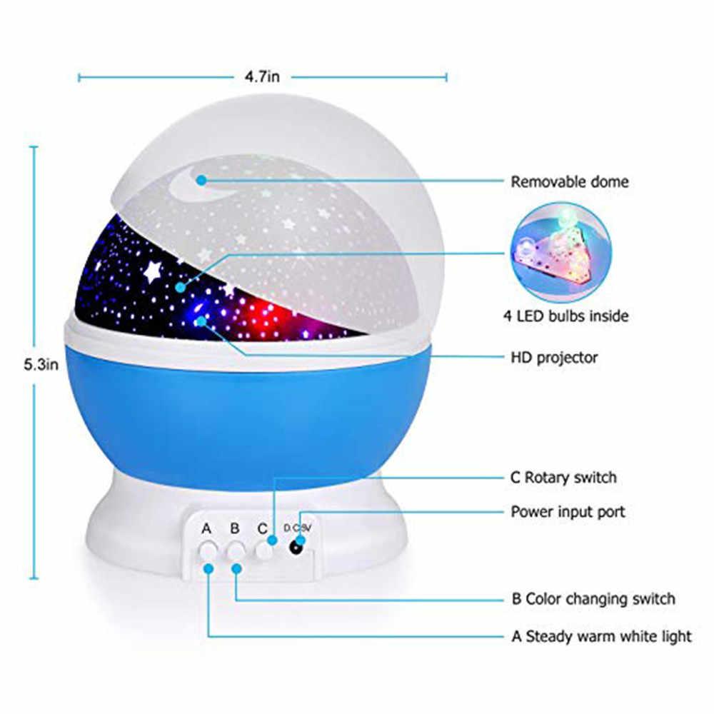 아이들을위한 선물 회전 별 별이 빛나는 하늘 led 야간 조명 프로젝터 문 램프 배터리 usb 전원 침실 책상 램프 프로젝션 램프