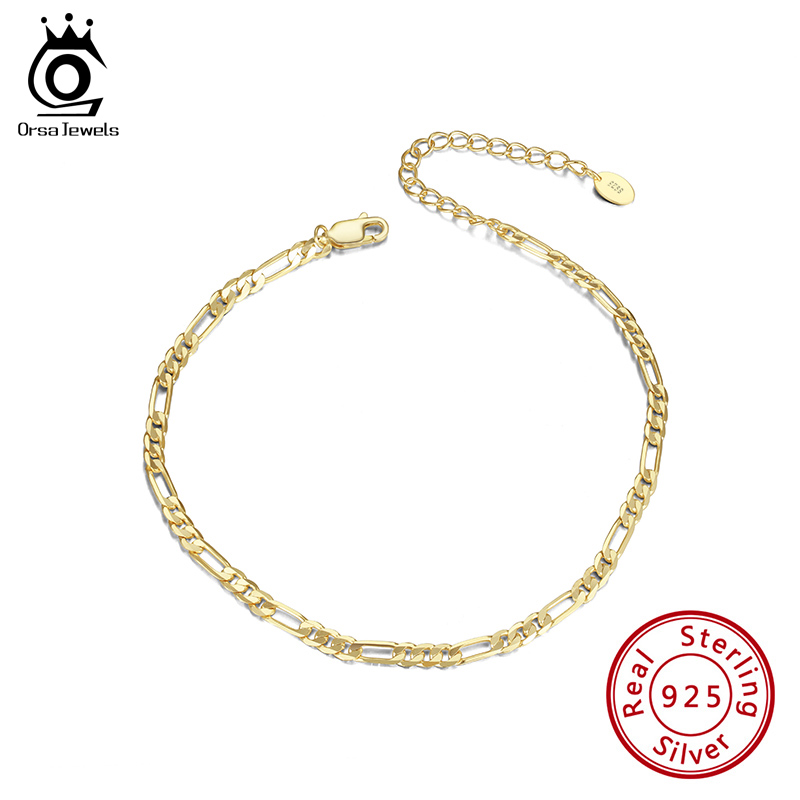 ORSA JEWELS Diamond-cut Figaro Chain Anklets Unisex 925 Silver Adjuatable Anklet Bracelet Barefoot Ankle Jewelry Gift SA07