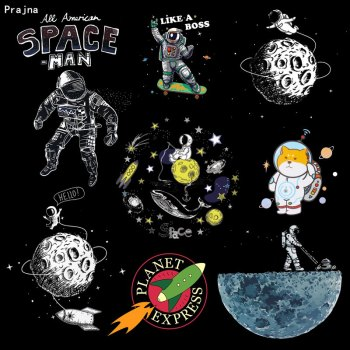 Prajna Space Earth Rocket Heat Transfer For Clothing Iron On Thermal Transfers Printed Hippie Stickers Applique UFO Planet Patch taylor butler christine space planet earth