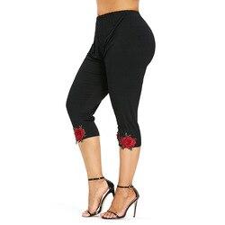 Rosegal Plus Size Flower Applique Leggings Women High Rise Cotton Cropped Capri Pencil Pants Summer Casual Leggings Trouser 2019