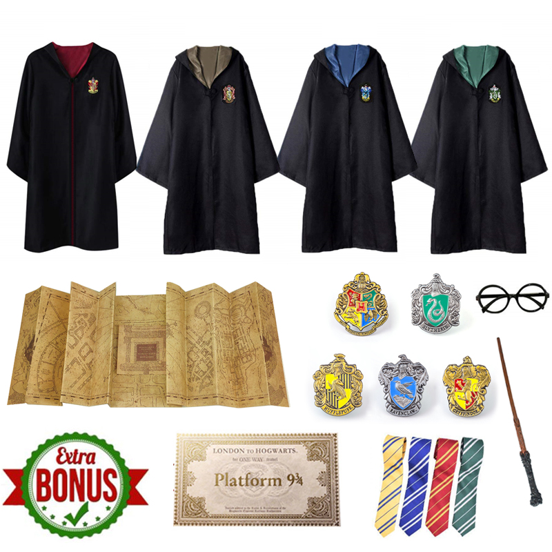 Costume Gryffindor Potter Robe The Marauder's Map Parchment Maps Badge Party Admission Letter Train Ticket Cosplay Halloween
