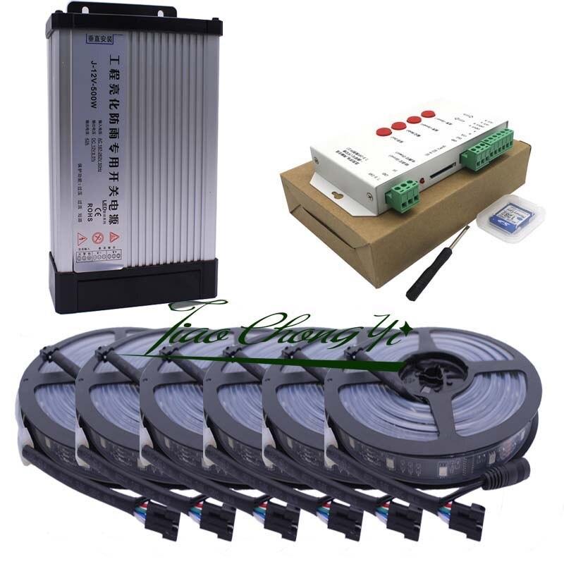 40M 5050 RGB Dream Color 6803 LED bande noire PCB IP67 étanche et 33A 12V étanche à la pluie alimentation et KIT de contrôleur T1000S