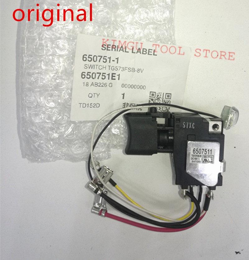 Genuine Switch 18V For Makita 650751-1 TD152D DTD152Z DTD152 DTD152Z  DTD152RME DTD152RFE 6507511