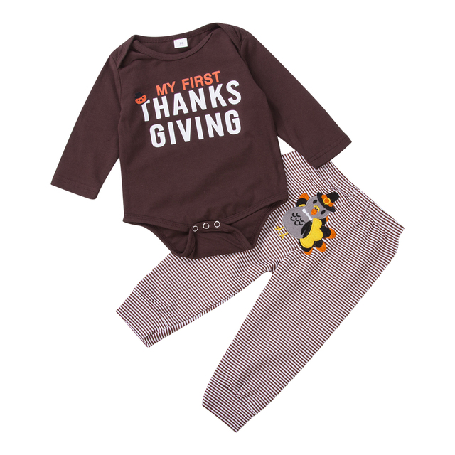 Newborn Toddler Baby Boys Girls Long Sleeve Bodysuit Striped Pants My First Thanksgiving Outfits 2PCS autumn casual Clothes Set 1