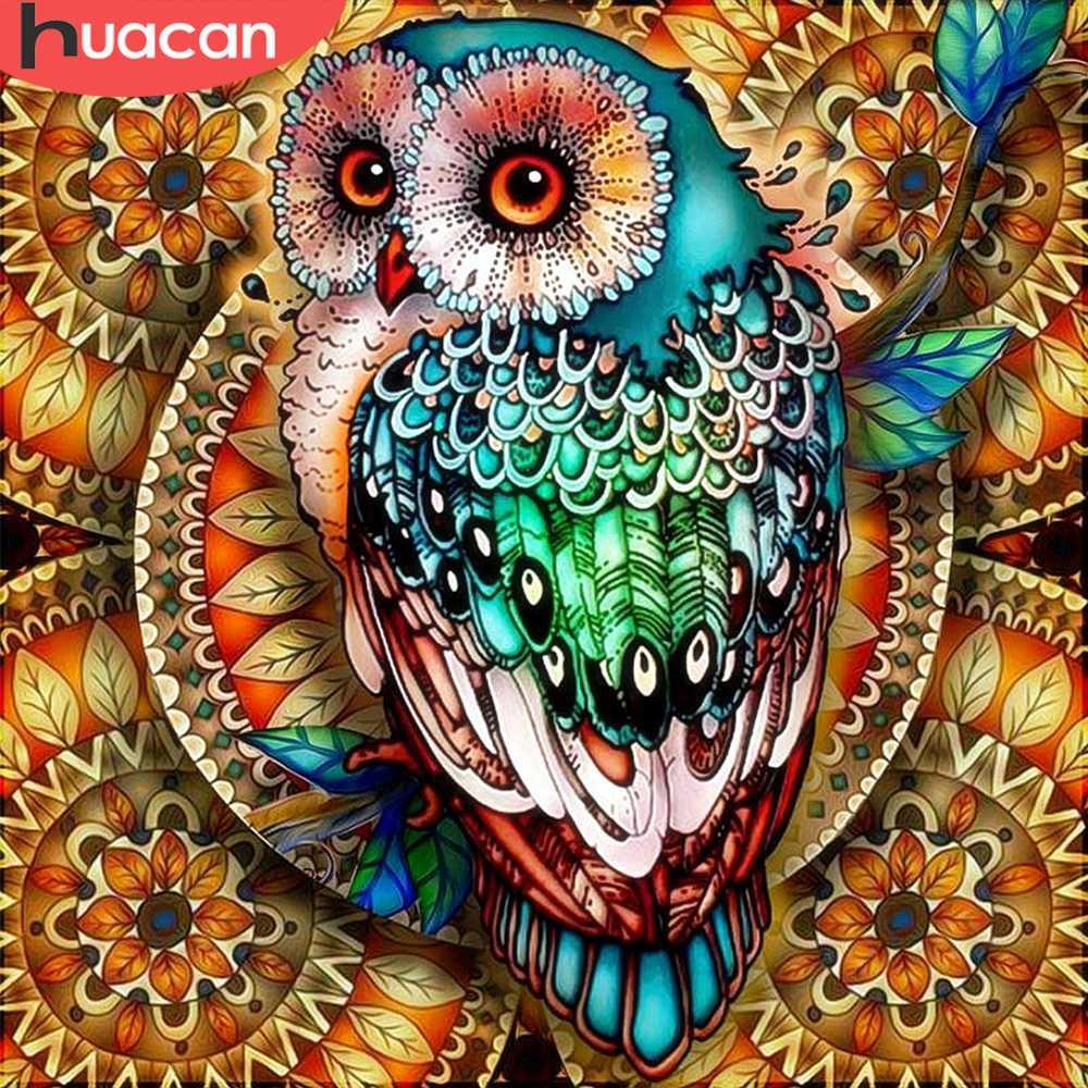 Huacan алмазная вышивка Сова картины стразами алмазная мозаика 5D DIY алмаз живопись животное дома декор