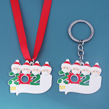 2020 Quarantine Christmas Ornament Necklace Pendant Santa Claus With Masᴋ Toilet Paper Hanging Pendant Christmas Tree Decor Gift image