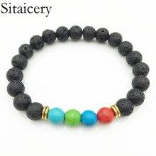 Sitaicery Newst 7 Chakra Bracelet Men Black Lava Healing Balance Beads Reiki Buddha Prayer Natural Stone Yoga For Women