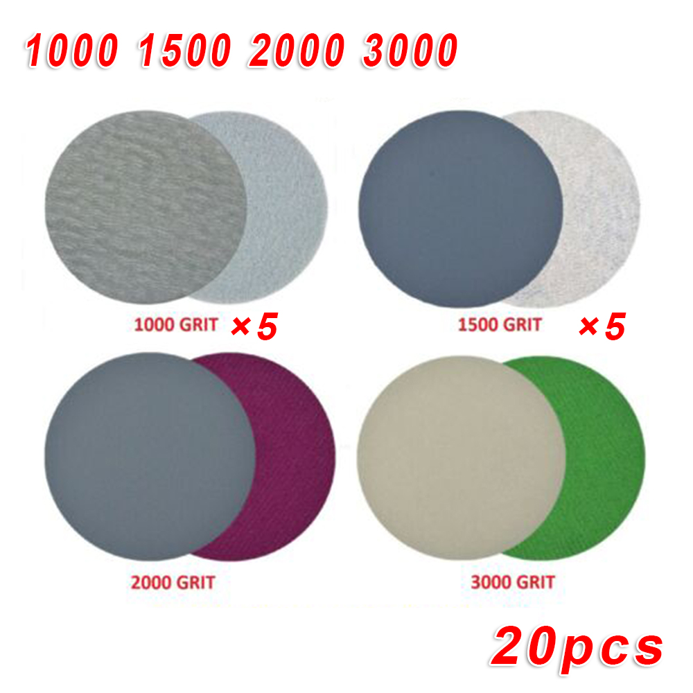 20pcs/Set 3 Inch 75mm Disc Sandpapers 1000/1500/2000/3000Grit Silicon Carbide For Wood Metal Polishing