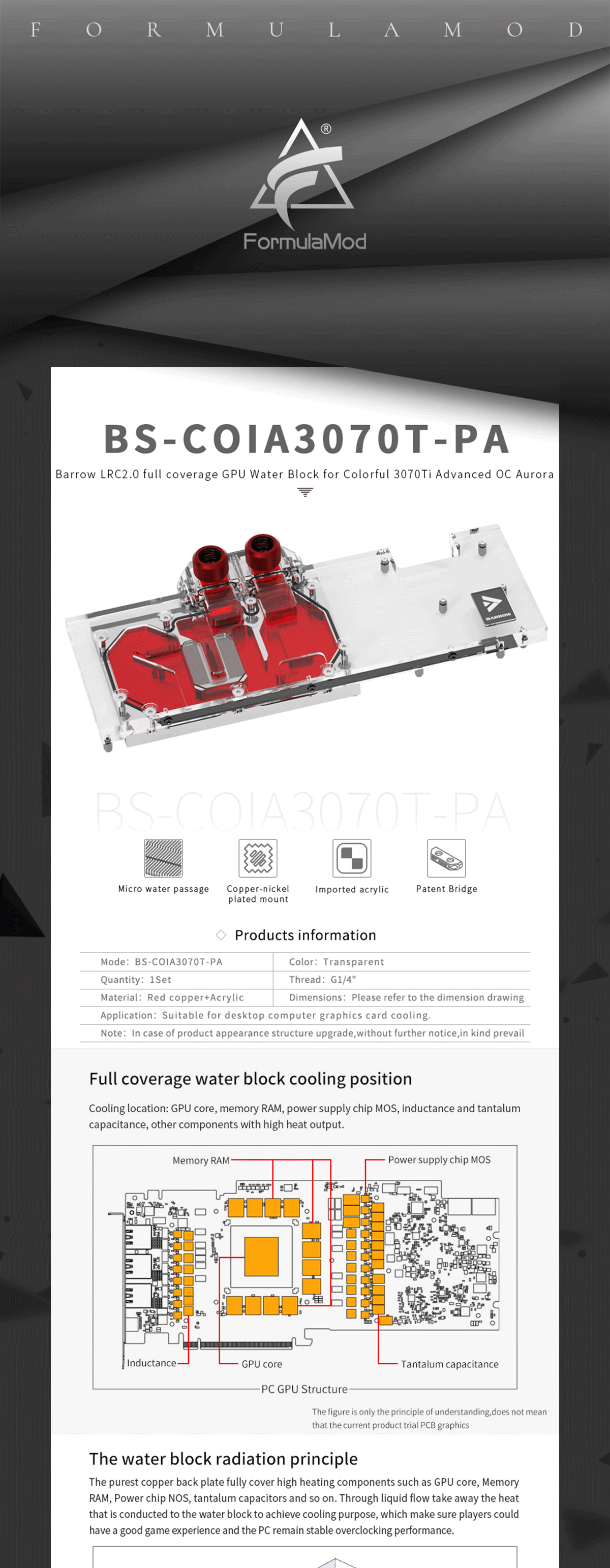 Barrow GPU Water Block , For Colorful iGame RTX 3070 TI Advanced OC / Ultra W OC 8G , Full Cover Water Cooler BS-COIA3070T-PA