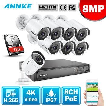 ANNKE 8CH 4K Ultra FHD POE wideo sieciowe System bezpieczeństwa 8MP H.265 NVR z 8X 8MP 30m EXIR noktowizor odporne na warunki atmosferyczne kamery IP