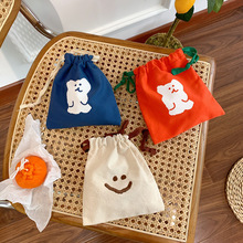 String-Bags Cosmetic-Case Jewelry Travel Wash-Holder Linen Girls Cute Bear Korea Home