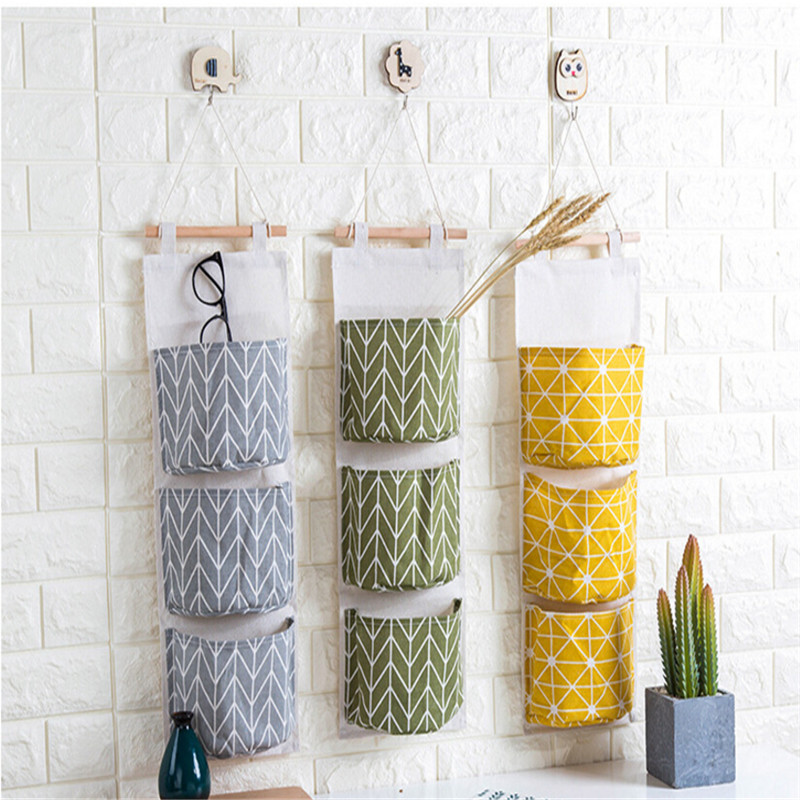 3 Pockets Wall Door Hanging Storage Bag Cotton Linen Closet Multi-Functional Organizer For Bedroom Bathroom Decoration