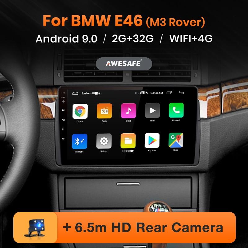 Awesafe px9 para bmw m3 e46 rover 75 mg zt rádio do carro reprodutor de vídeo multimídia gps nenhum 2 din android 9.0 2gb + 32gb