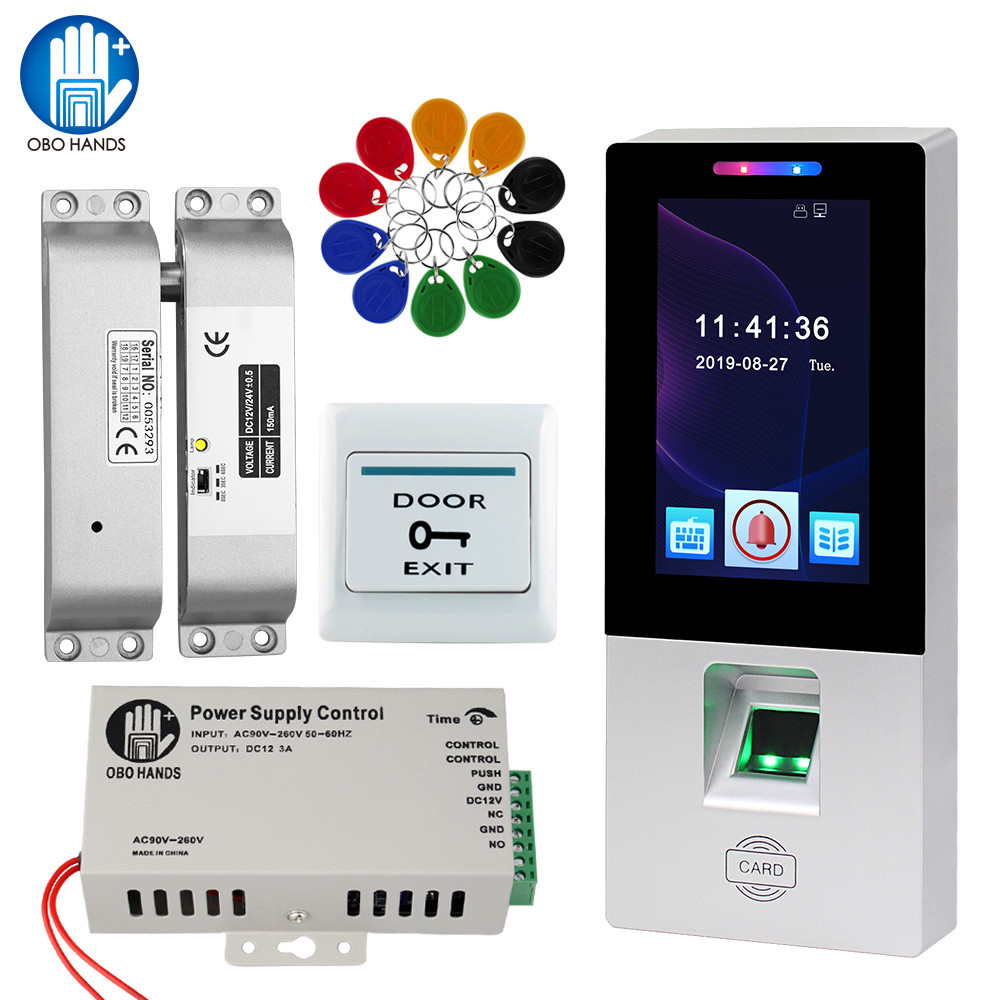 4.3inch Color Touch Screen Keypad RFD Door Access Control System Biometric Fingerprint Access Control Reader Electronic Lock Kit
