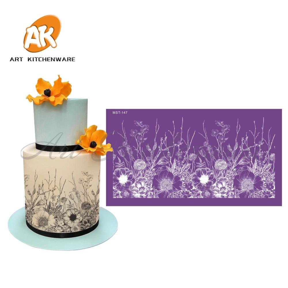 Flowers Mesh Stencil  Cake Wedding Decoration wedding decoration Tools Soft Fabric Stencils for Fondant Mold