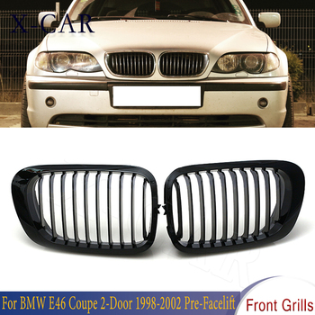 X-CAR Matte Black Front Hood Kidney Grille Grill Racing Grille For BMW E46 Coupe 2-Door Cabridet 2-Door 1998-2002 Pre-Facelift image