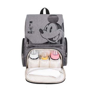 Image 3 - 디즈니 기저귀 가방 배낭 미키 마우스 디즈니 엄마 가방 출산 베이비 케어 기저귀 가방 여행 유모차 핸드백 무료 후크