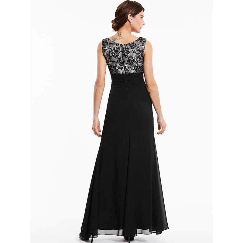 Dressv שחור תחרה סקופ צוואר ארוך שמלת ערב ללא שרוולים מסיבת לבוש הרשמי קו ערב שמלות
