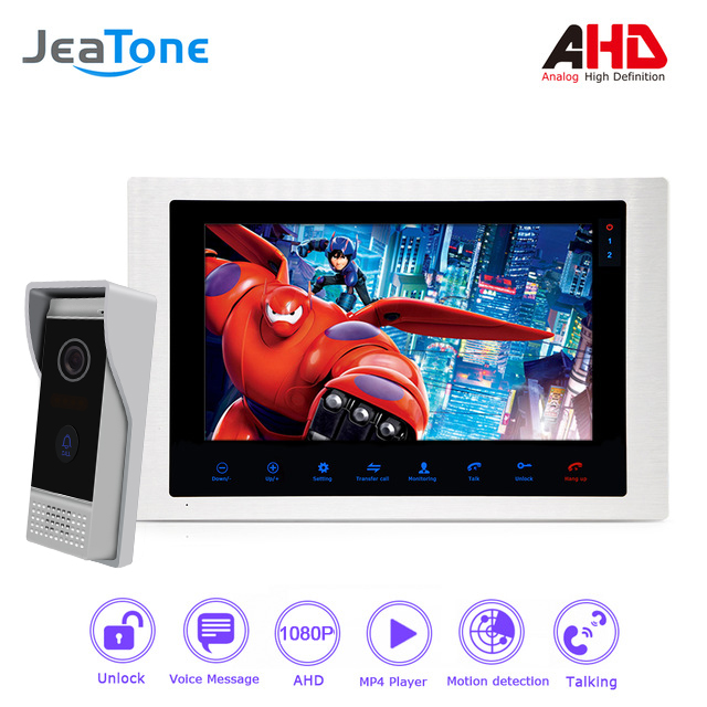 1080P AHD 10'' Video Door Phone Intercom Door Bell Door Speaker Waterproof Support Voice Message/Motion Detection/MP4 Player