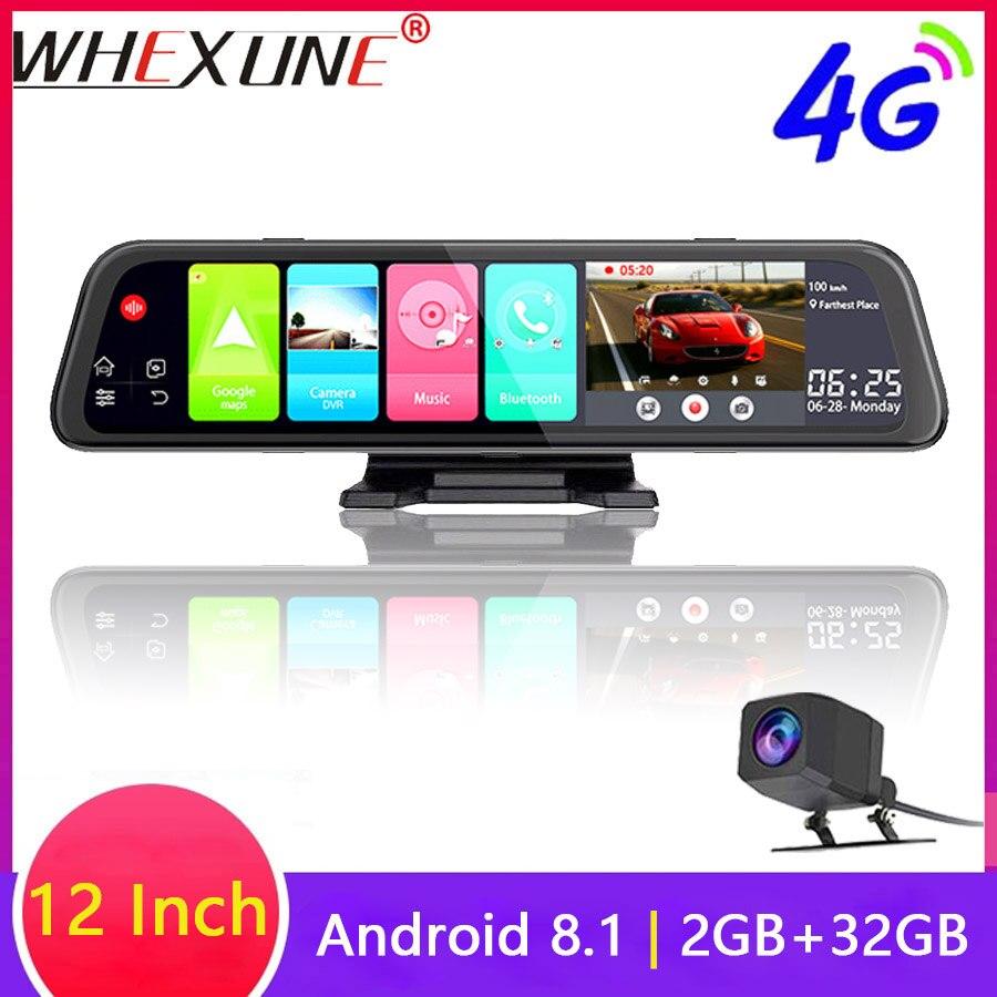 WHEXUNE 4G Android 8,1 Автомобильная dvr камера gps 12 дюймов зеркало заднего вида 2G ram + 3 2G rom видеорегистратор