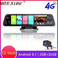 WHEXUNE 4G Android 8.1 Car DVR Camera GPS 12 inch Rearview mirror 2G RAM+32G ROM dash cam Video recorder ADAS Parking Monitoring