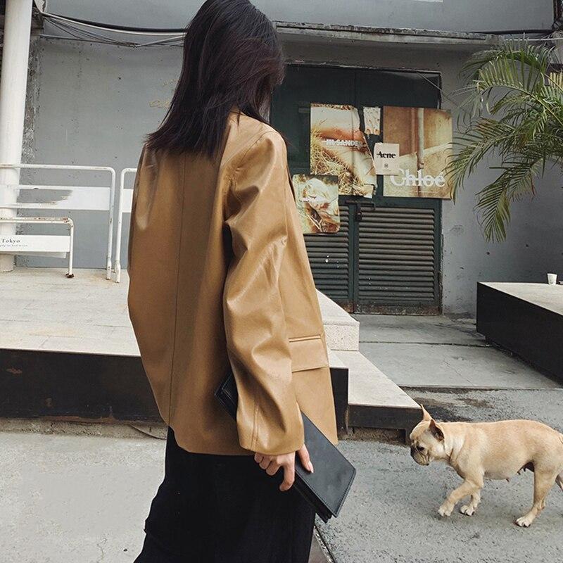 [EAM] Loose Fit Khaki Pu Lether Big Size Bandage Jacket New Lapel Long Sleeve Women Coat Fashion Tide Spring Autumn 2020 6