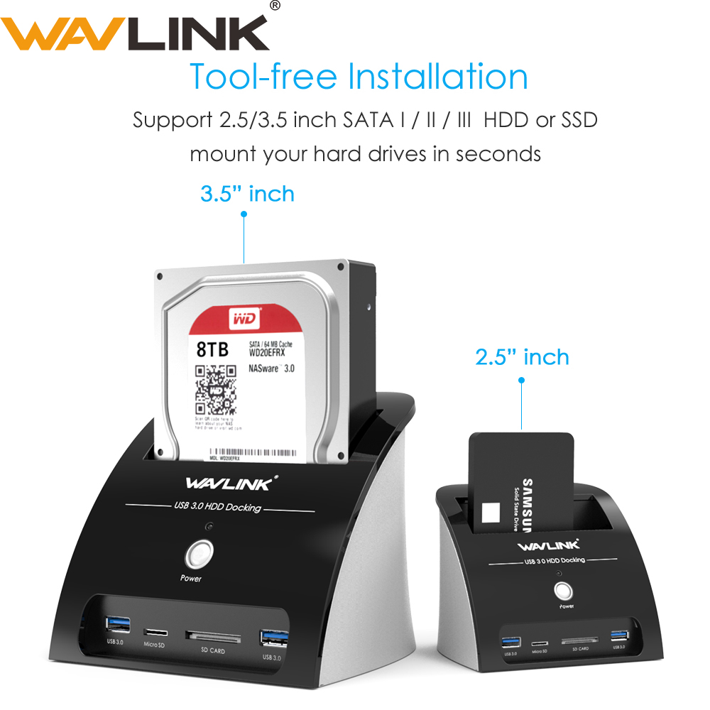 Wavlink USB 3.0 SATA HDD Docking Station With Card Reader Slot SATA Hard Drive External Enclosure Case For 2.5/3.5 Inch HDD SSD