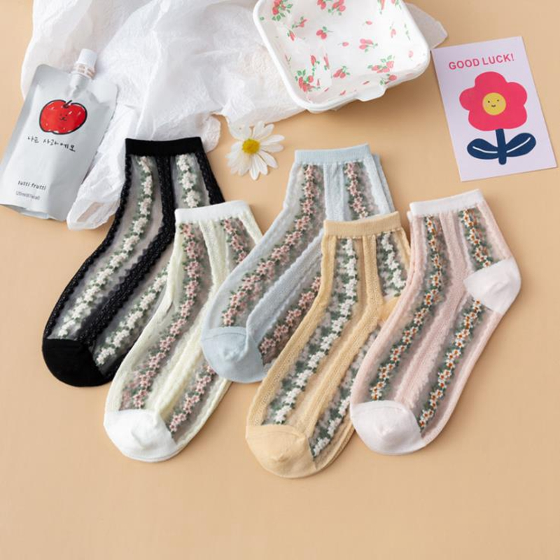 New Arrive Spring and Summer Japan Style Small Flower Card Silk Retro Female Socks Glass Silk Broken Flower Mid- Tube Casual Sox
