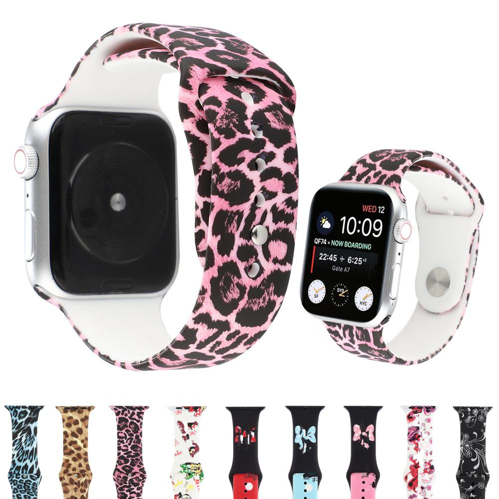 leopard printed strap for <font><b>Apple</b></font> <font><b>watch</b></font> 5 band 40mm 44mm iwatch band 38mm <font><b>42mm</b></font> Silicone bracelet woman <font><b>correa</b></font> <font><b>apple</b></font> <font><b>watch</b></font> 5 4 <font><b>3</b></font> 2 image
