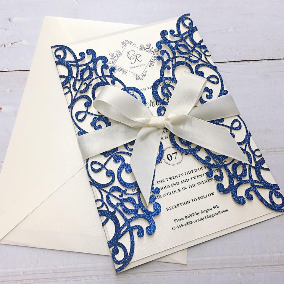 Picky Bride Royal Glitter Blue Wedding Invitations Laser Cut Invitation  Printable Invitation Cards set of 50 pcs|Cards & Invitations| - AliExpress
