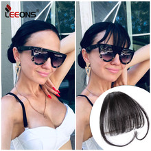 Leeons falso lungo smussato frangia estensione Clip-In frangia finta 100% vero naturale falso hairpiece per le donne Clip In frangia
