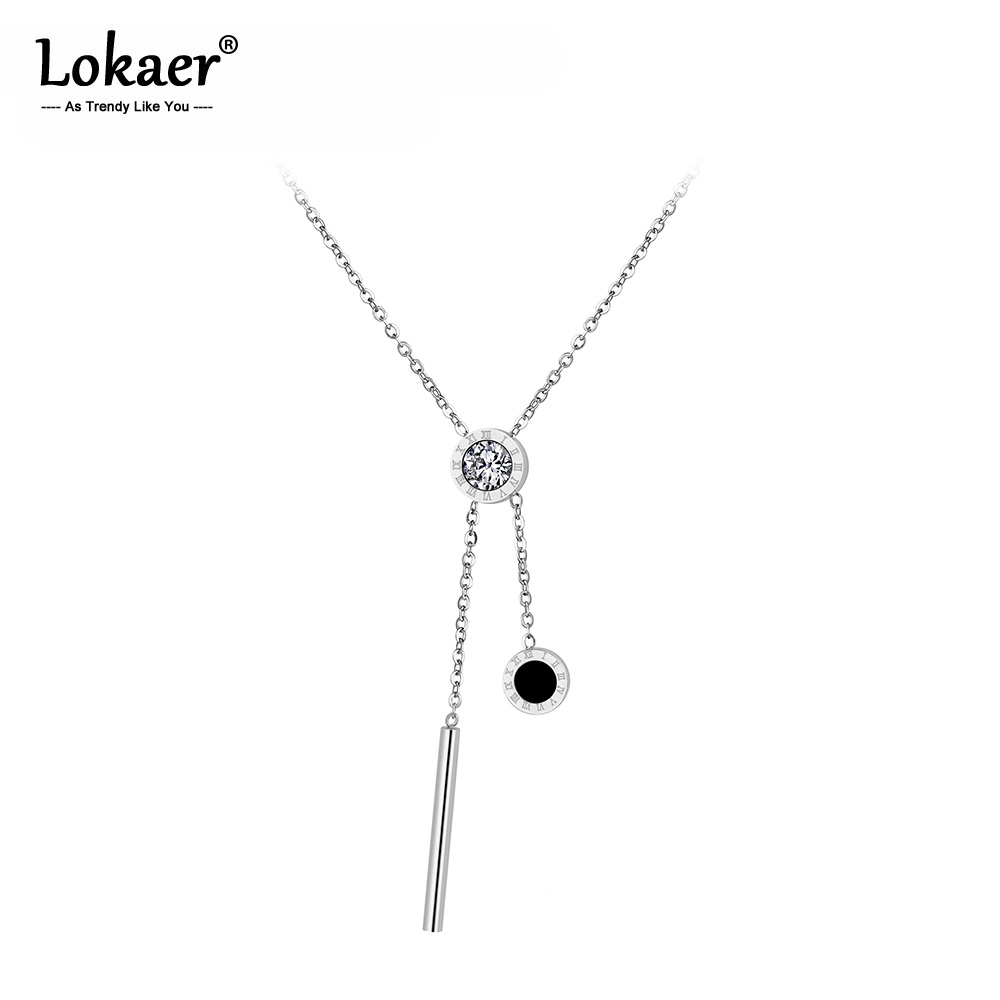 Lokaer classique zircon cubique en acier inoxydable bijoux coquille noire Alphabet romain pendentif colliers de mariée bijoux de mariage N18027