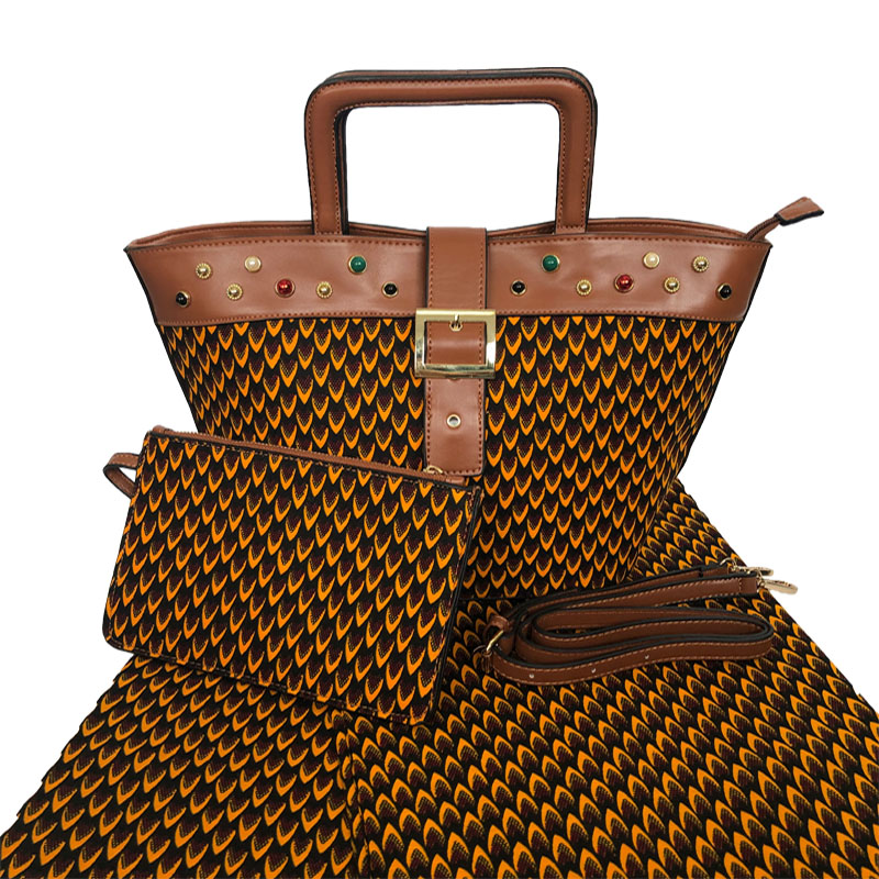 African Wax Bags With 6 Yards Wax Prints Star Fabric Most Popular Woman Handbag With 100% Cotton Wax Fabric Set For Party