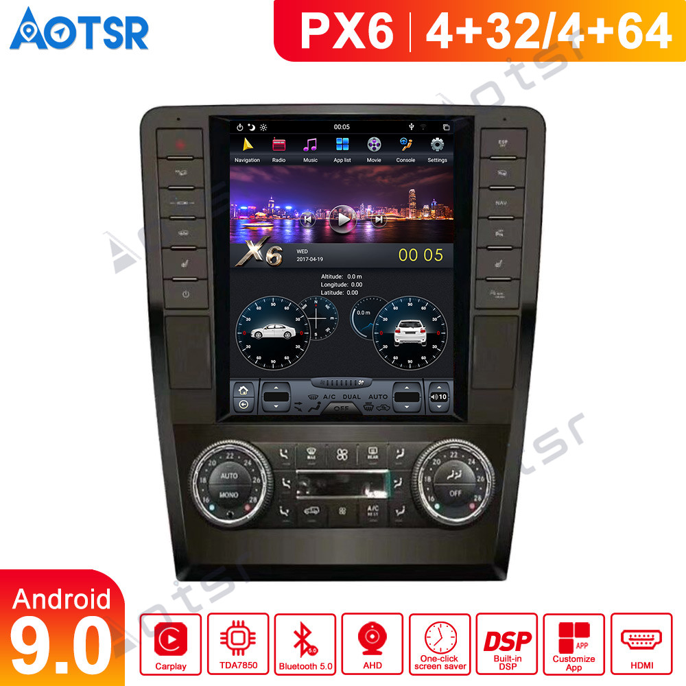 Android 9 Tesla Car multimedia For Mercedes Benz ML W164 W300 ML350 ML450 ML500 GL X164 G320 GL350 GL450 GL500 No DVD head unit image