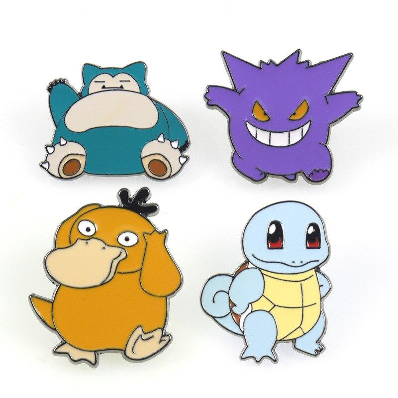 Japan Anime Pokemon Brooch Psyduck Cosplay Bagde Gengar Cartoon Squirtle Cute Funny Fancy Gift Metal Breastpin Pin