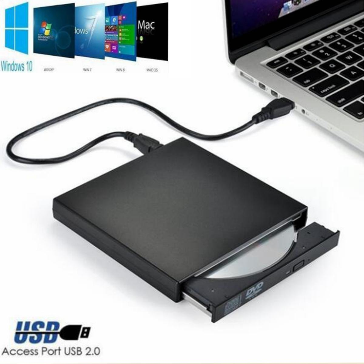 USB 2.0 External DVD ROM Player Reader CD RW Combo Burner Drive For Laptop PC Optical Drive Combo DVD/CD Burner CD/DVD-ROM CD-RW