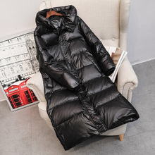 Зимнее длинное пуховое пальто для женщин, Толстое Зимнее пальто с капюшоном на молнии размера плюс, ветрозащитная зимняя верхняя одежда, 90% белый утиный пух, теплая куртка