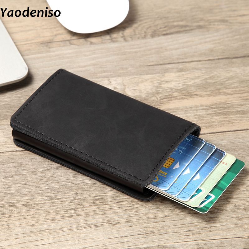 Men RFID Wallet Blocking Vintage Automatic Leather Credit Card Holder Aluminum Metal Business ID Multifunction Cardholder Wallet