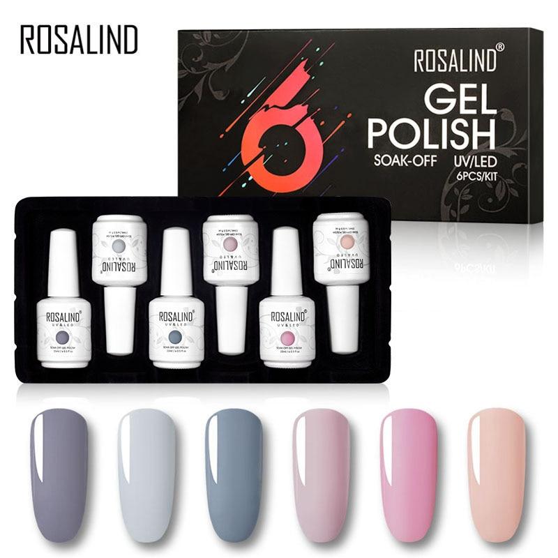 ROSALIND Manicure Kit 6PCS/Set Need Base Top Coat 15ML Nail Gel Polish Set For Nails Art Neao Nude Colors Gel Varnish