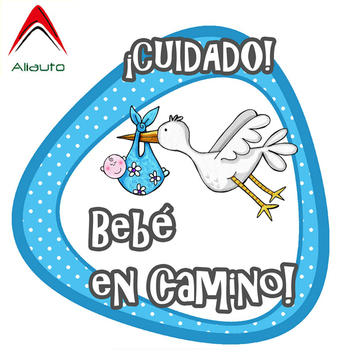 Aliauto Car Sticker Careful Baby on The Way Lcuidado Bebe En Camino Waterproof Reflective Decal for Mercedes S Series,14cm*14cm image