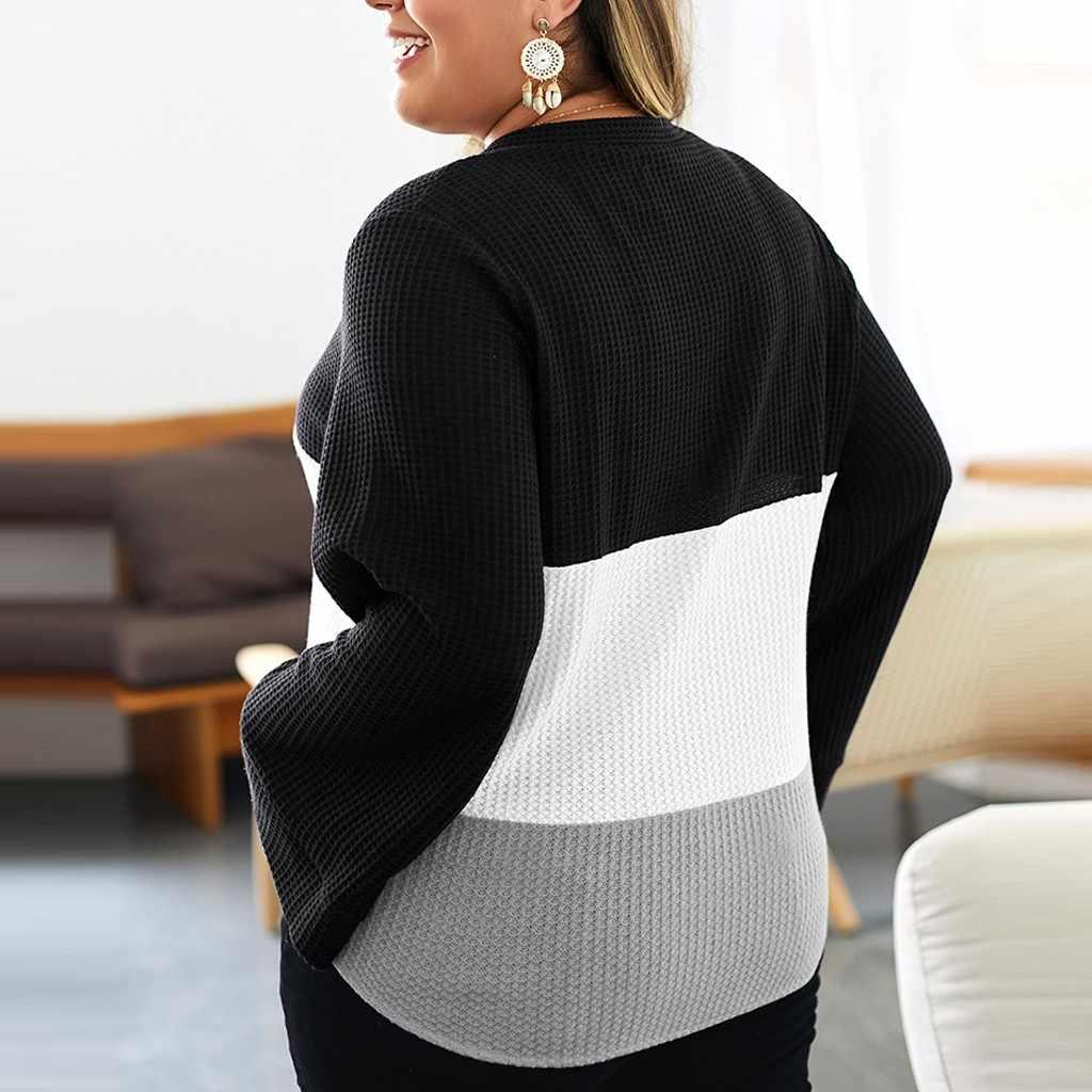 2019 осенний женский лоскутный свитер Женская мода плюс размер сшивание кнопка узел длинный рукав Топ свитер плюс размер
