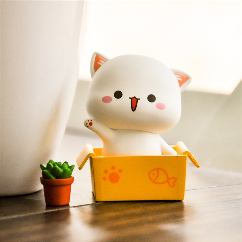 Genuine Product Peach Cat Blind Box Lucky Cat Base Adorable Cat Series Garage Kit Decoration Doll Toy