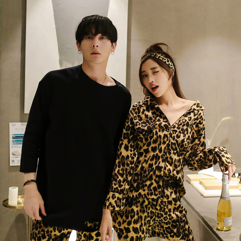2019 Pijamas Men Pijama Hombre Set Breathable Soft Homewear Tops+pants Nightgown Pyjamas Comfy Couple Pajamas Leopard Print