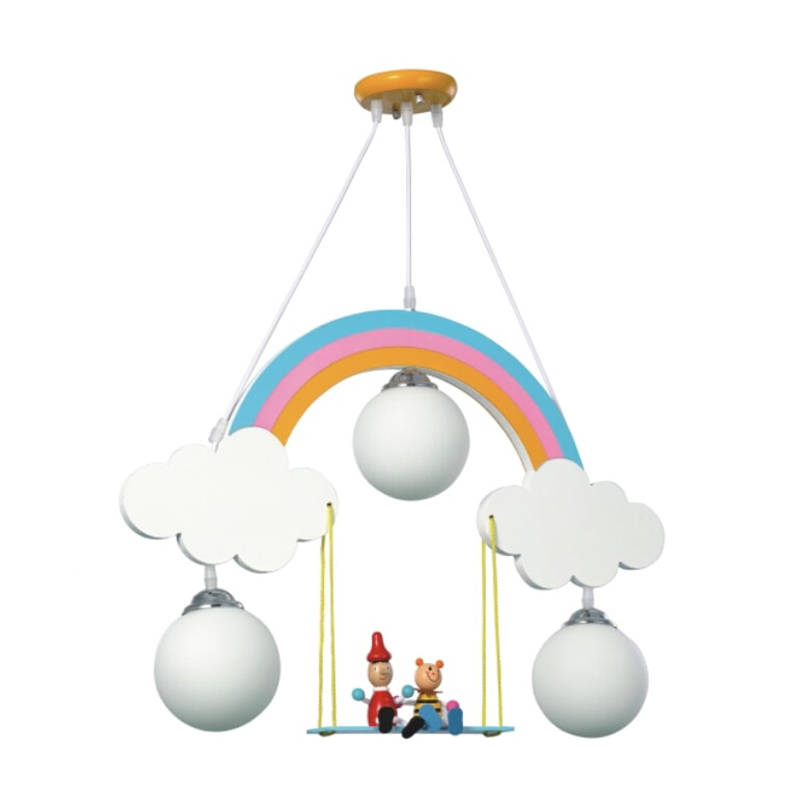 Children Pendant Lights Rainbow Cartoon Personality Bedroom Light Boy Girl Warm Creative Lamp Lovely Kids