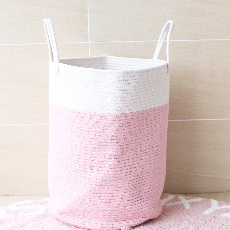 Cotton Rope Woven Laundry Basket Pompom Ornaments Washing Dirty Clothes Storage Bin Kids Toys Foldable Hamper